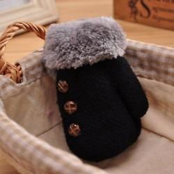Fekete - Fekete Újszülött gyerekek téli meleg meleg kesztyű Lányok fiúk Stretchy kötött kötött ujjatlan ajándék