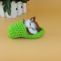 Zöld - Zöld Új Lifelike Kid Toys aranyos plüss macska lágy baba Lifelike szimuláció hangjátékok JP