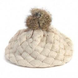 Bézs - Bézs Aranyos baba gyerekek lányok kisgyermek téli meleg kötött horgolt beret sapka sapka kalap