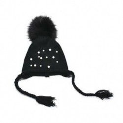 Fekete - Fekete Aranyos kisgyermek lányok csecsemő csecsemő téli meleg horgolt Kötött kalap gyerekek Beanie Ski Cap
