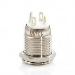 fehér Krómozott 4 érintkezős 12 mm-es LED könnyű nyomógomb pillanatnyi kapcsoló vízálló 12V