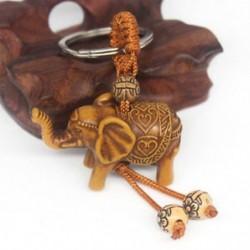 Szerencsés elefánt kulcstartó kulcstartó lánc gonosz védi faragás fából készült medál ajándék