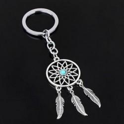 Ezüst tónusú kulcstartó gyűrű Tassels-sapkák Dream Catcher kulcstartó kulcstartó ajándék