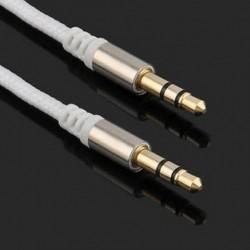 fehér Arany 3,5 mm-es férfi és férfi autós Aux kiegészítő kábel sztereó audiokábel telefon iPodhoz