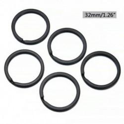 2,0 * 32mm 5db fekete fém szilárd osztott kulcs gyűrű ötvözet hurok lapos kulcstartó 25-32mm