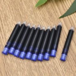 Kék 10db 20Pcs íróeszköz eldobható fekete kék töltőtoll tintapatron utántöltő