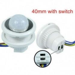 40mm kapcsolóval 5W ~ 200W 50 ~ 60Hz PIR infravörös test mozgásérzékelő vezérlő kapcsoló fehér fénylámpa