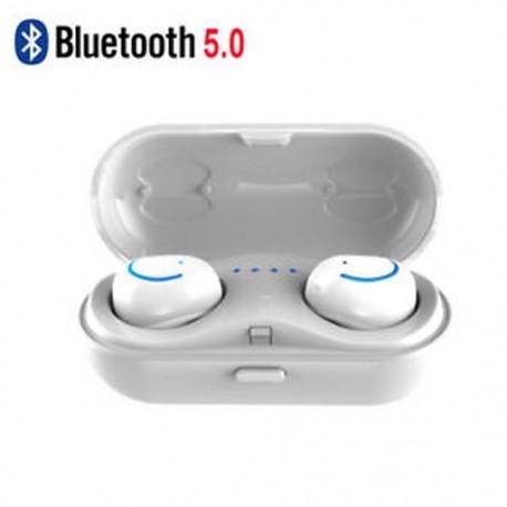 Fehér (Bluetooth 5.0) Vezeték nélküli Bluetooth Earbuds w / Mic True Bass ikrek Stereo In-Ear fülhallgató