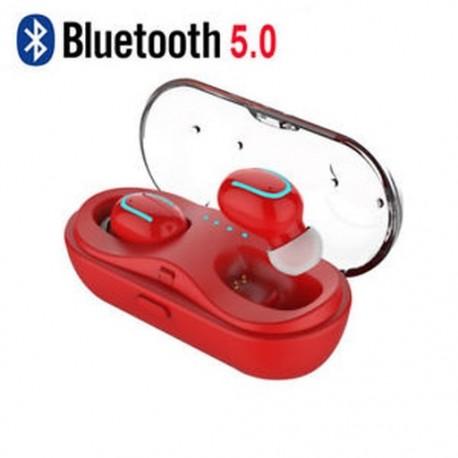Piros (Bluetooth 5.0) Vezeték nélküli Bluetooth Earbuds w / Mic True Bass ikrek Stereo In-Ear fülhallgató
