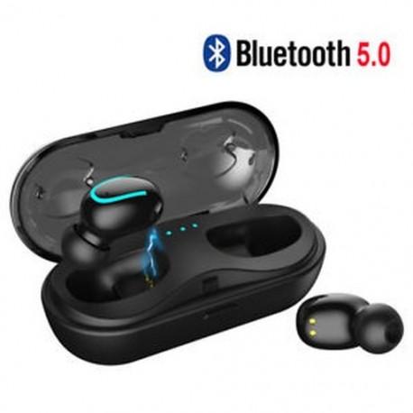 Fekete (Bluetooth 5.0) Vezeték nélküli Bluetooth Earbuds w / Mic True Bass ikrek Stereo In-Ear fülhallgató