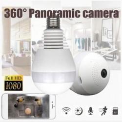 SPY rejtett mini biztonsági IP kamera 360 ° -os panoráma 1080P Wifi vezeték nélküli villanykörte