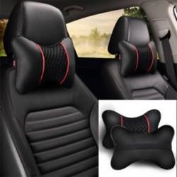 2x PU bőr kötött autó párnák fejtámla nyak párna támogatás ülés ülések