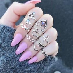 10 db os női cseh drágakő utánzat geometriai gyémánt sítlusú gyűrű szett