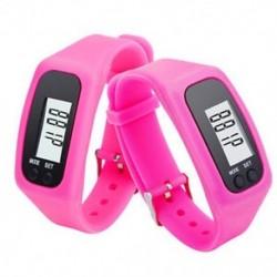 Rózsaszín Digitális LCD pedométer csuklós lépés futás távolsági kalória számláló karkötő J