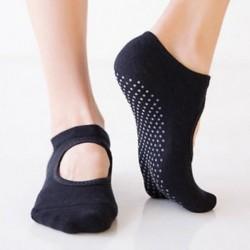 Fekete Női pamut masszírozó zokni jóga barre zokni csúszásmentes skid barre pilates balett