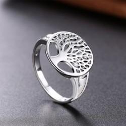1x Női egyedülálló klasszikus életfa ezüst gyűrű Ékszer Ajándék kiegészítő