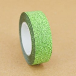 15mm x 10m-es Zöld csillámos Washi dekor szalag - dekoratív öntapadós szalag