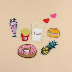 8PCS Donuts Gyümölcskészlet Hímzett varrott vasalat a javításokhoz Jelvényes kalap táska DIY szövetbevonat