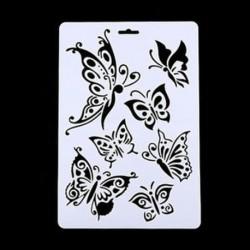 3 * Pillangó DIY kézműves angyal rétegző stencilek falakra Scrapbooking bélyegek albuma