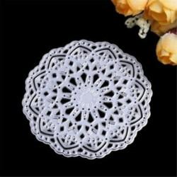 * 2 kerek virág (Dia 8cm) DIY fém csipke vágószerszámok Stencil Scrapbook Album papírkártya dombornyomó kézműves