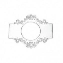 * 14 csipke kör (9x8 cm) DIY fém csipke vágószerszámok Stencil Scrapbook Album papírkártya dombornyomó kézműves