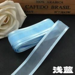 Világoskék 5yds 1 &quot (25mm) Satin Edge Organza szalag íj esküvői dekoráció DIYLace kézműves