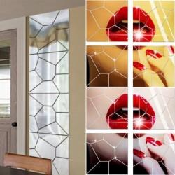 1x geometriai mintás DIY Akril tükör hatású falimatrica Kivehető matrica Vinyl otthoni dekoráció