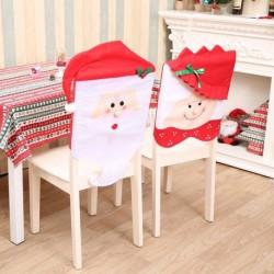 1db Mikulás - Mikulásné mintás széktámla huzat - Télapó - Télanyó székhuzat