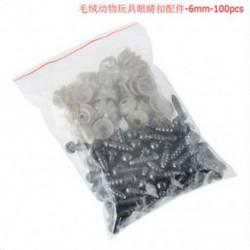6 mm-es 100db 6-20mm fekete műanyag biztonsági szemek mackó / babák / játékállatok / filcek számára