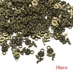 Bronz Nagykereskedelem 16db Rose Flower Charm medál tibeti ezüst gyöngy ékszer készítés
