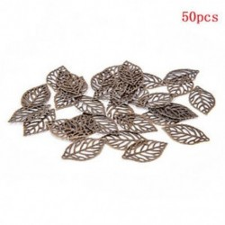 Sötét bronz Nagykereskedelmi 50Pcs levelek Filigrán fém medál Crafts Ékszer DIY kiegészítők