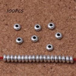 Nagykereskedelem 100db ezüst kerek rozsdamentes acél távtartó gyöngyök DIY ékszer készítés