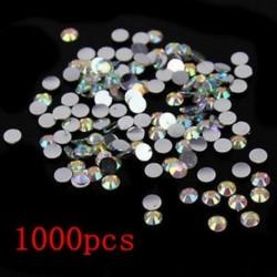 Nagykereskedelmi 1000Pcs Nail Art Faceték strasszos Flatback Crystal kerek gyöngyök 4mm