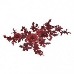 * 1 bor piros (350 * 290 mm) 3D-s virághímzés esküvői ruha csipke menyasszonyi csokor Pearl tüll DIY JP