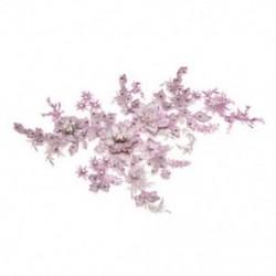 * 1 rózsaszín   ezüst (350 * 290 mm) 3D-s virághímzés esküvői ruha csipke menyasszonyi csokor Pearl tüll DIY JP