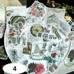 * 4 60db címke napló papír matrica Scrapbooking növények Virág matricák Telefon dekoráció