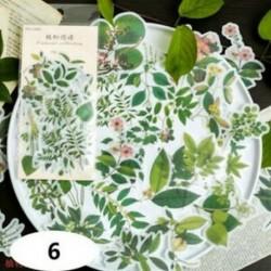 * 6 60db címke napló papír matrica Scrapbooking növények Virág matricák Telefon dekoráció