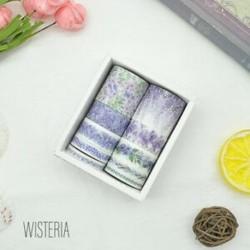 10 tekercs Lilaakác mintás színes Washi dekor szalag - dekoratív öntapadós szalag - 9