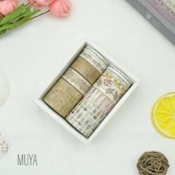 * 4 MUYA 10 Rolls Paper Washi szalag dekoratív Scrapbooking ragasztó matrica kézműves eszköz