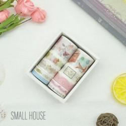 * 6 Kis Ház 10 Rolls Paper Washi szalag dekoratív Scrapbooking ragasztó matrica kézműves eszköz