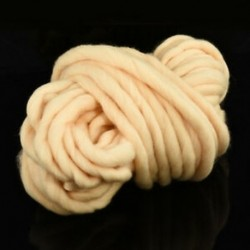 Bézs 1 Roll Chunky gyapjú fonal Super Soft Bulky kar Kötés gyapjú Roving horgolás DIY