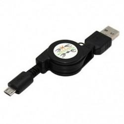 Fekete Micro USB A és USB 2.0 B közötti, visszahúzható kábeladat-szinkron töltő a Samsung számára