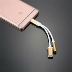 * 2 Arany USB-C-tól 3,5 mm-ig és töltő 2 in1 fejhallgató audio jack töltőkábel adapter
