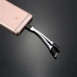 * 2 Fekete USB-C-tól 3,5 mm-ig és töltő 2 in1 fejhallgató audio jack töltőkábel adapter