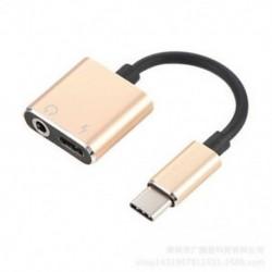 Arany C típus 3,5 mm és 2 in1 töltő fejhallgató audio jack USB C kábel adapter 1Pc