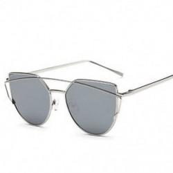 Ezüst Női retro fémkeret tükörre szabott napszemüveg túlméretezett macska szemüvegek szemüveg