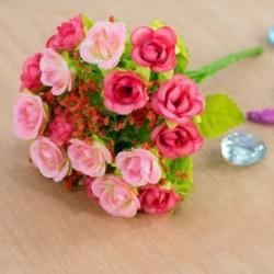 * 7 PINK Virág csokor mesterséges selyem rózsa virág menyasszonyi esküvői fél váza dekoráció