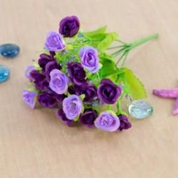 * 7 Lila Virág csokor mesterséges selyem rózsa virág menyasszonyi esküvői fél váza dekoráció