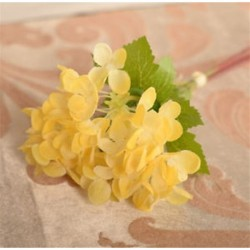 Sárga Mesterséges hortenzia selyemvirágok levélszár esküvői menyasszonyi party lakberendezés Új