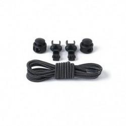 Fekete-fehér 1Pair Elasztikus No-Tie Locking cipőfűző cipőfűző cipő csatokkal sportcipő számára